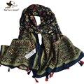 [Marte y Joven] Estilo Retro Floral Ocasional de Gran Tamaño de 180*105 cm de Largo Bufandas y Chales Para Las Mujeres