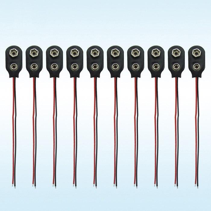 20Pcs 9V PP3 9Volt Battery Snap On Clip Connector I Type Holder 10Cm Lead ac