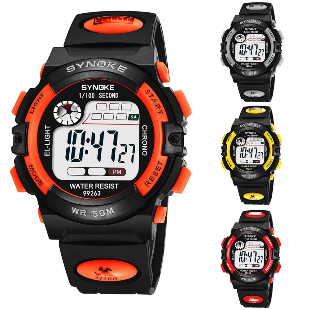 New Kids Boys Sports Glow in the Dark Alarm Stopwatch Digital Electronic Wrist Watch fashionable water resistant glow in dark wrist watch black white 1 x lr626