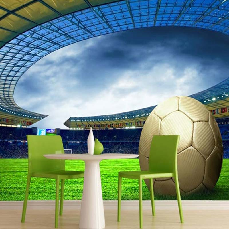 Charming Customized Size 3D Stereo Stadium Football Photo Mural Soccer Field  Non Woven Wallpaper For Living Great Ideas