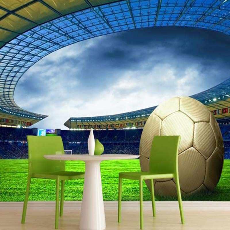 Kustom 3D Sepak Bola Wallpaper Foto Olahraga Sepak Bola Bertema Stadion Lukisan Dinding Wallpaper untuk Ruang Tamu Bar Dinding Kamar Tidur De Parede 3D