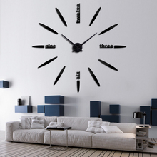 DIY 3D Sticker Acrylic Mirror Quartz Needle Modern Clock