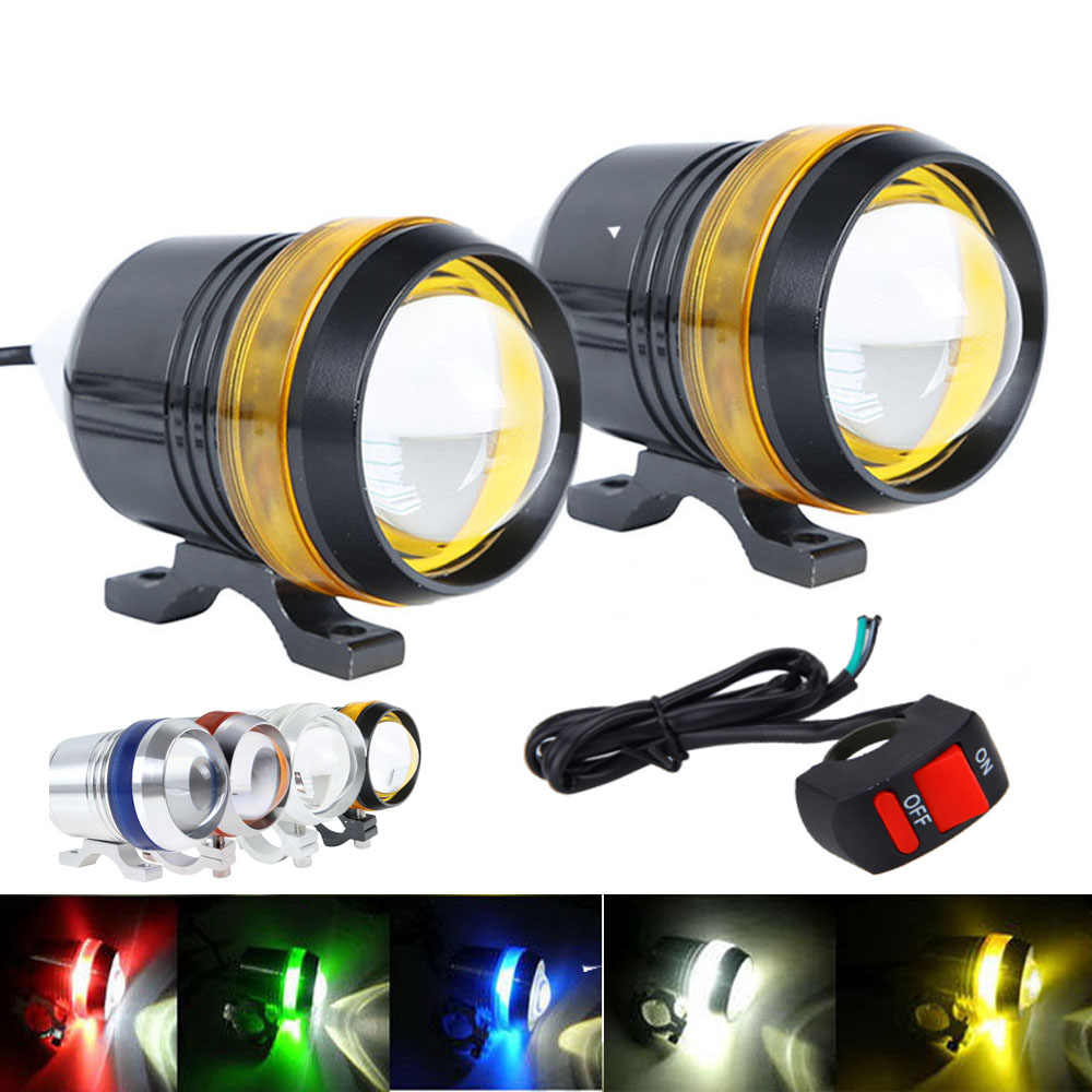 Hot Waterproof 12V 30W U3 LED Projector Fog Spot Motorcycle Headlight Working Lamp with 1pc swith for U3 moto light