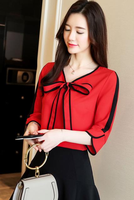 2018 new women tops fashion summer bow chiffon blouses shirts office lady elegant shirts plus size v-neck women clothing 0287 40