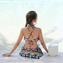 Bikini Set Bathing Suit Women Three Pieces Swimsuit Printing Tassel High Waist Push Up Beach Wear Summer Beachwear Cover Up