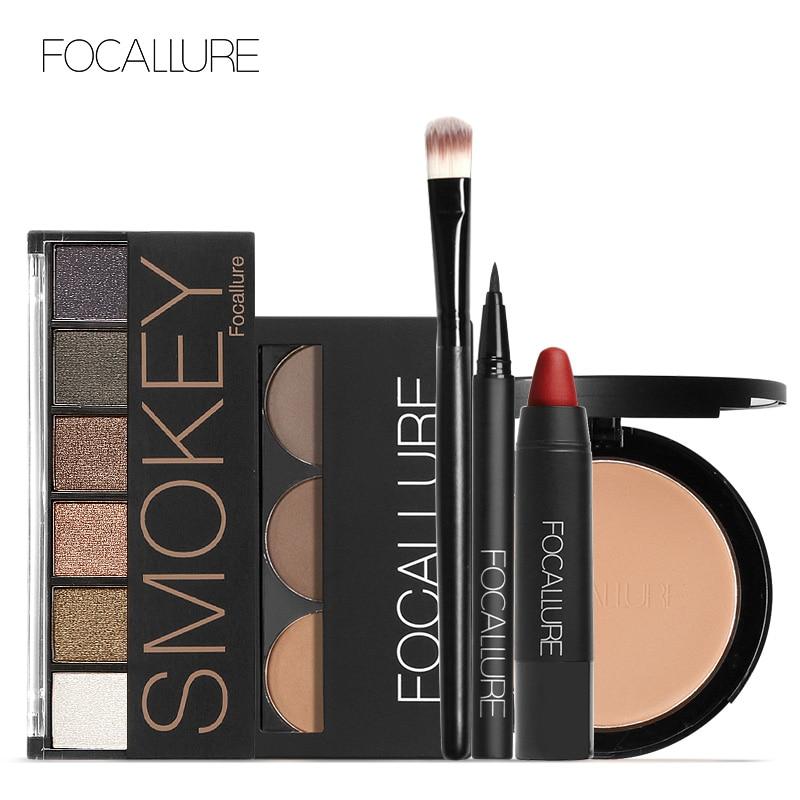 Focallure maquiagem kit conjunto de maquiagem com 6 cores/paleta sombra sobrancelha delineador rosto pó batom fosco em um kit de maquiagem