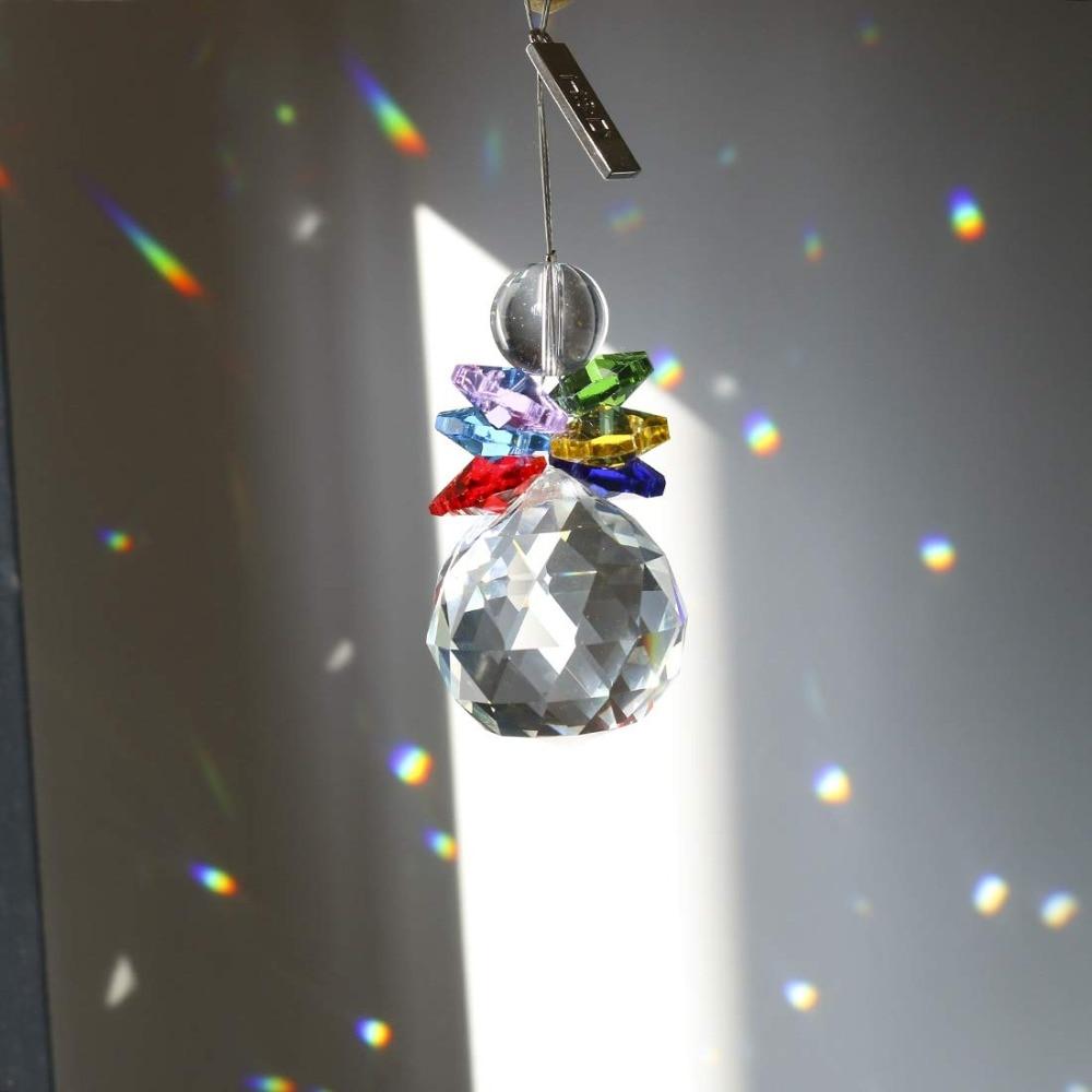 H&D Crystal Ball Sun Catcher For Window Rainbow Maker Christmas Decor Pendant Chandelier Prism Hanging Suncatcher (Multi-Color)