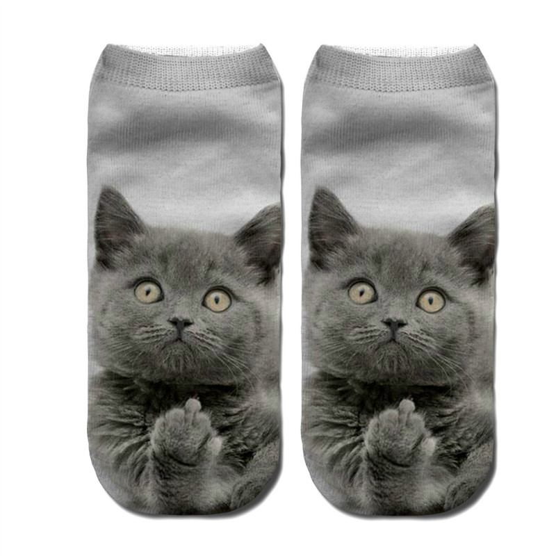 Miya Mona 3D Printing Cat Women's Socks Breathable Cotton Men Hosiery Spring Autumn Winter Animal Black Casual Socks for Girls