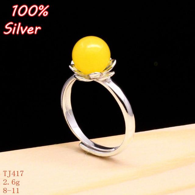 100 925 Sterling Silver Jewelry Stone Pearl Flower Ring Blank Inner 8