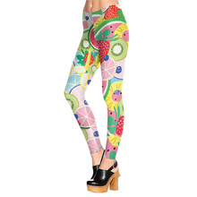1603 Fitness Elastic Women Leggings Sexy Girl Polyester Slim Fit Workout Pants Trousers fruit salad watermelon blueberry Printed