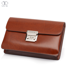 YINTE Men's Clutch Wallets Men Leather Clutch Bag England Style Wallet Portfolio Passport Purse Big Handbag With Lock T8553-6
