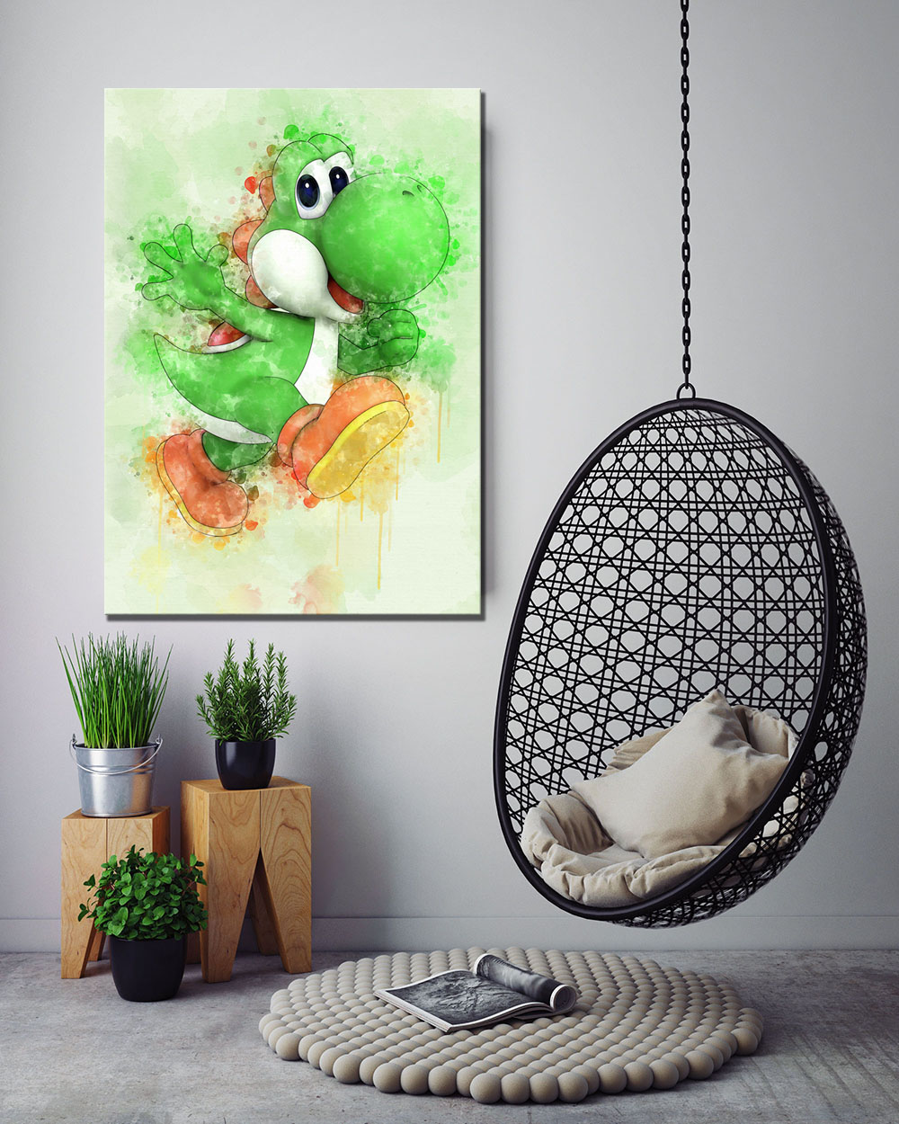 1 Piece Yoshi Super Smash Bros Game Poster Super Mario Cartoon Dinosaur  HD Wall Pictures Canvas Paintings for Home Decor 3