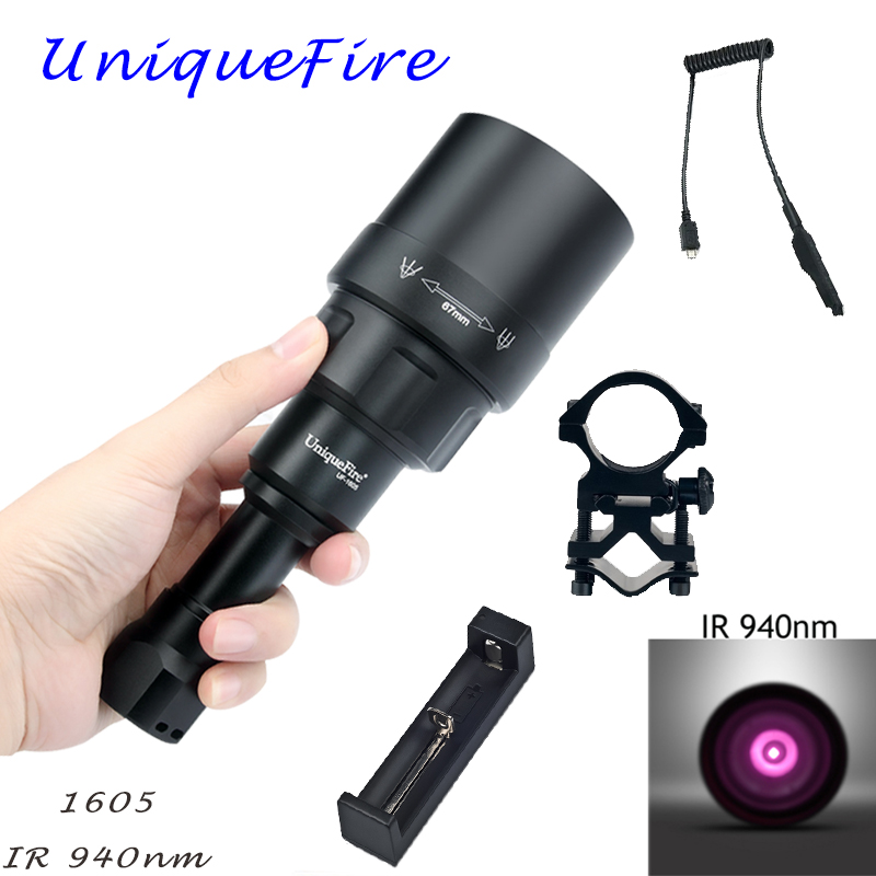 UniqueFire 1605 IR 940NM LED Flashlight 67mm Lens Infrared Light Night Vision Torch 3 Mode Rechargeable KIT SET For Hunting uniquefire 1405 ir 940nm illuminator led night vision flashlight torch charger 67mm convex lens 3 mode torch for hunting camping
