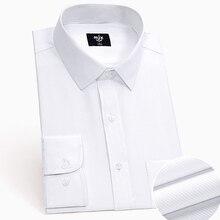 e2f1bfa9c4 Camisa de manga longa escritório verão 2019 slim fit camisas de algodão  preto branco dos homens