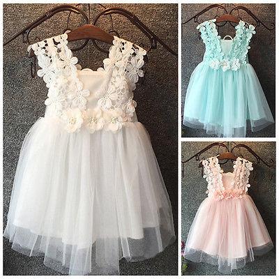 Vestido del bebé del verano princesa perla Encaje tul vestido de flores partido vestido de fantasía vestido de gasa sundress