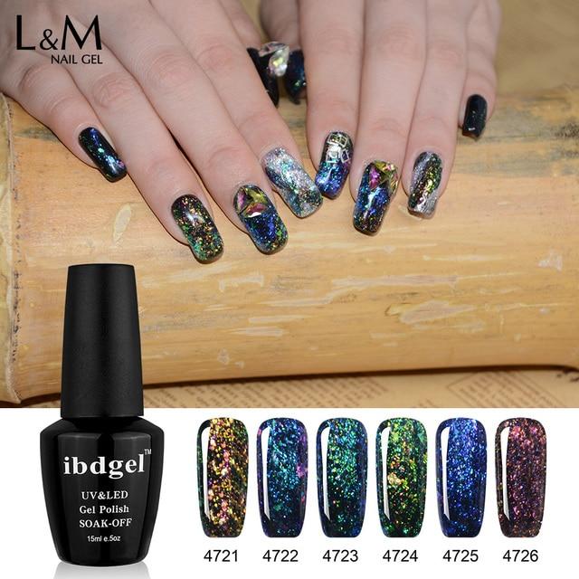 6 Bottles Ibdgel Color Uv Gel Nail Polish Glitter Galaxy Soak Off 15ml
