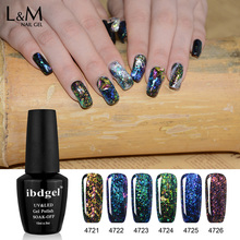 6 Bottles ibdgel Color UV Gel Nail Polish Glitter soak off Gel polish 15ML Nail Art Bling colors Shiny Gel Lacquer Sales