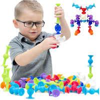 Weiche Bausteine Kinder DIY Squigz Pop Sucker Lustige Silikon Block Modell Bau Spielzeug Kreative Geschenke Für Kinder Jungen
