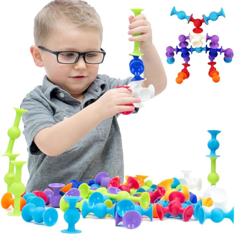 все цены на Soft Building Blocks Kids DIY Squigz Pop Sucker Funny Silicone Block Model Construction Toys Creative Gifts For Children Boy