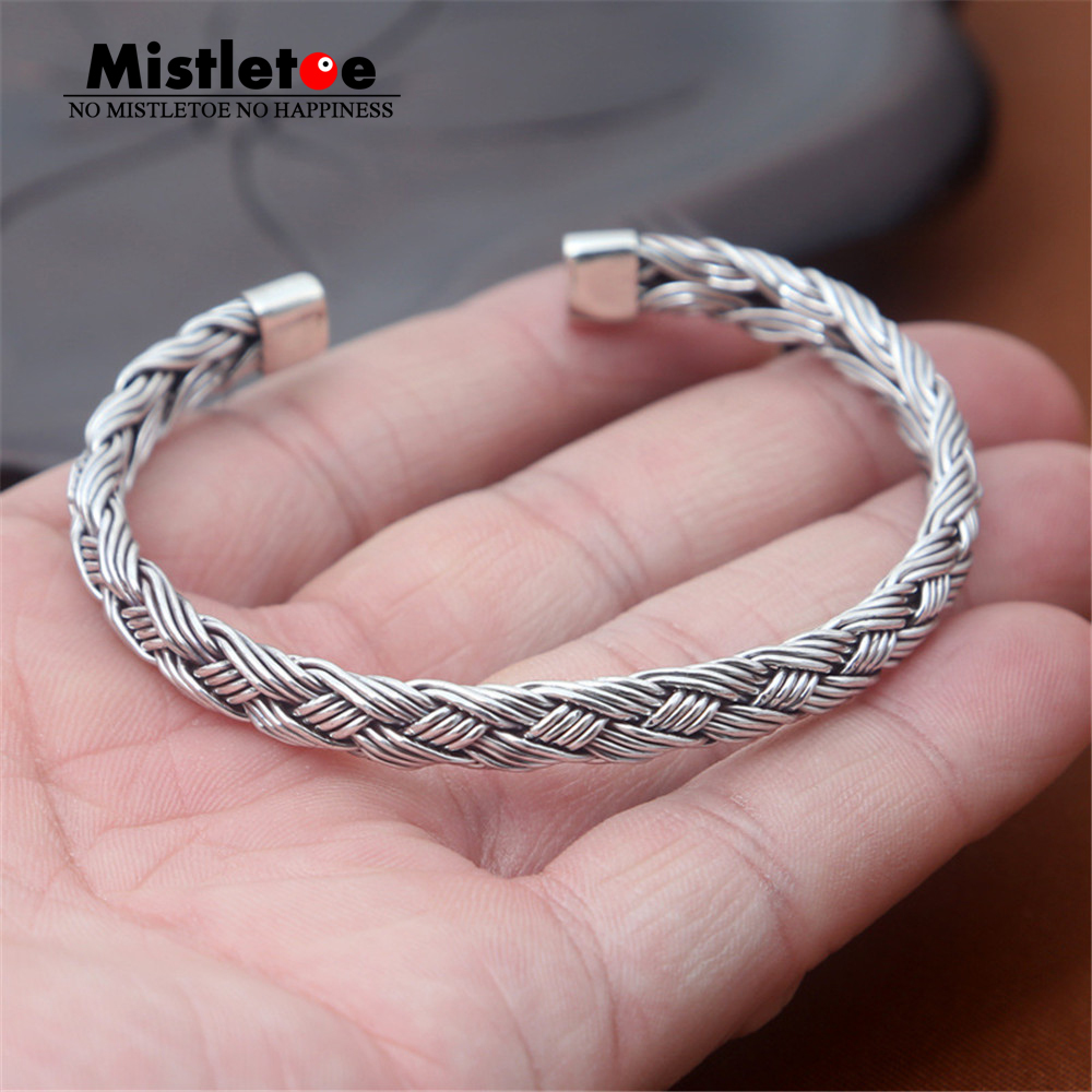 Authentic 999 Sterling Silver Vintage Retro Braided Open Adjustable Bangle Bracelet Jewelry For Women