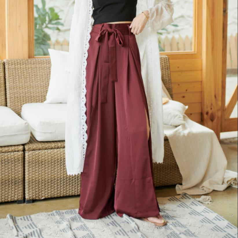 Longer Size fit 160cm-190cm height   wide     leg     pants   female Fashion ins hot England style was thin split hollow cut trousers WQ1910