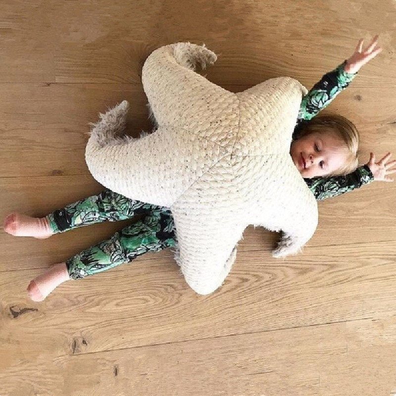 все цены на Nordic Style Animals Starfish Dolphin Octopus Stuffed Cushion Pillow Baby Calm Sleep Dolls Kids Bed Room Decor Toys Photo Props