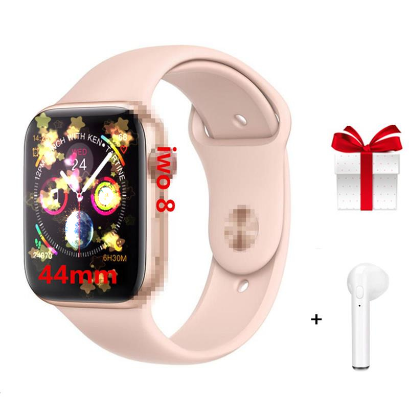 4 couleurs IWO 8 Smartwatch 44mm boîtier montre série 4 pour Xiaomi Samsung avec rappel de message d'appel compatible pour iphone 6 7 8 X