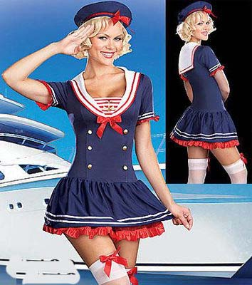 free shipping Sailor Girl Fancy Dress Costume Nautical Navy Outfit Halloween S M L XL 2XL