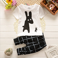 2016 Summer Boys Clothes new Rabbit Children Clothes for Boys Toddler Baby Boys Clothing Set Short Sleeve T Shirts+ Plaid Pant