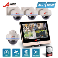 ANRAN Plug Play P2P 1080P HDMI 4CH POE NVR LCD Screen 30 IR Outdoor Dome Security