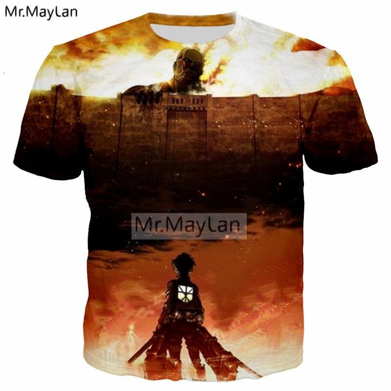 Anime Attack on Titan 3D Print T shirt Men/Women Hiphop Rock T-Shirt Tees Tshirt 2018 Boy New Clothing Drop ship camiseta hombre