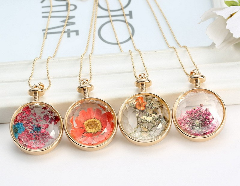 Fresh Pressed dried real Flowers Pendant Necklace jewelry