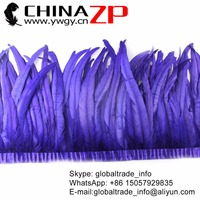 CHINAZP Feathers 30~35cm(12~14inch) Hand Work Unique Royal Purple New Design Rooster Feathers Trim Wholesale Carnival Costumes