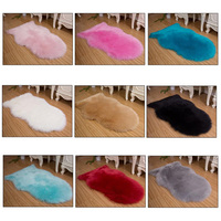 Artificial Sheepskin Shaggy Faux Fur Decorative Carpet Bedroom Sofa Area Rug Solid Green White Wine Red Black Pink Grey Blue