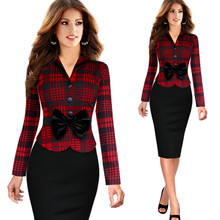 2015 Fall And Winter Womens Lapel Long-sleeved Houndstooth Plaid Tartan Single-Breasted Work Bodycon Sheath Pencil Dress