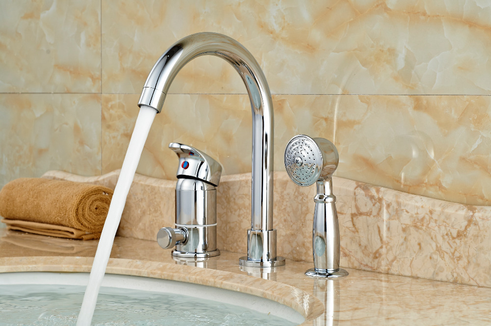 Polished Chrome Brass Bathroom Tub Faucet Hand Shower Diverter Deck Mounted hot and cold water