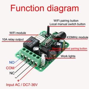 Image 4 - APP Wifi التبديل 1CH تيار مستمر 7 36 فولت 10A التتابع وحدة الاستقبال 433 ميجا هرتز العالمي اللاسلكية مفتاح بالتحكم عن بعد ل المرآب البعيد KTNNKG