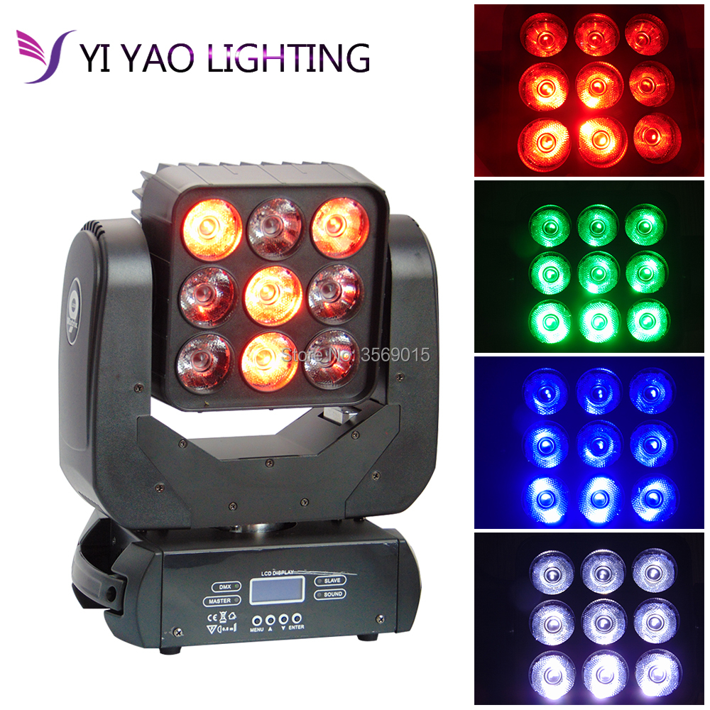 RGBW 4in1 9x12W LED Matrix Moving Head Light for Disco Stage Party