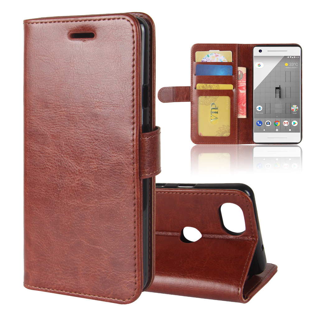 30Pcs/Lot R64 Wallet Leather Stand PU+TPU Cover Stand Case With Card Slot For Google Pixel 2 XL / Pixel 2