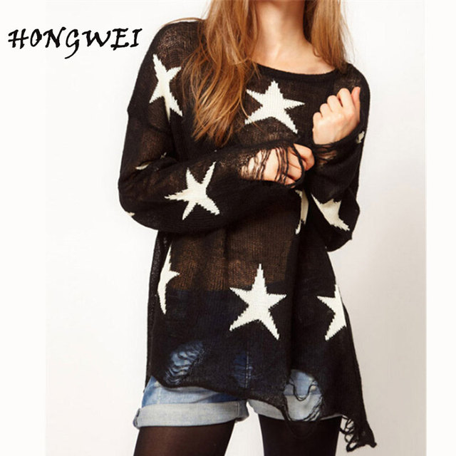 HONGWEI Long Sleeve Lovely Female Star Pullovers Fashion Loose ...