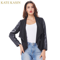 Kate Kasin 2017 Spring Autumn Women Basic Bomber Jackets Long Sleeves Lapel Collar Coats Casual Slim