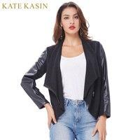 Kate Kasin 2017 Spring Autumn Women Basic Bomber Jackets Long Sleeves Lapel Collar Coats Casual Slim