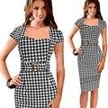 Мода Черный Плед Сексуальная Bodycon Summer Work Dress Short Sleeve женщины Office Dress Плюс Размер XXL Business Dress Для ПР дамы
