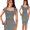 Fashion Black Plaid Sexy Bodycon Summer Work Dress Short Sleeve Women Office Dress Plus Size XXL Business Dress For OL Ladies