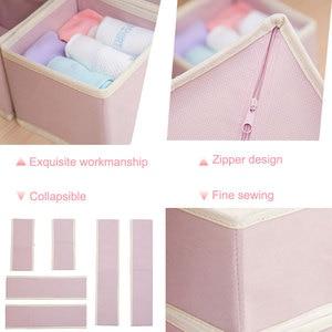 Image 3 - 6 adet yeni Nonwoven saklama kabı katlanabilir çekmece içi bölme aparatı kapaklı dolap kutusu için bağları çorap sutyen iç çamaşırı giyim organizatör