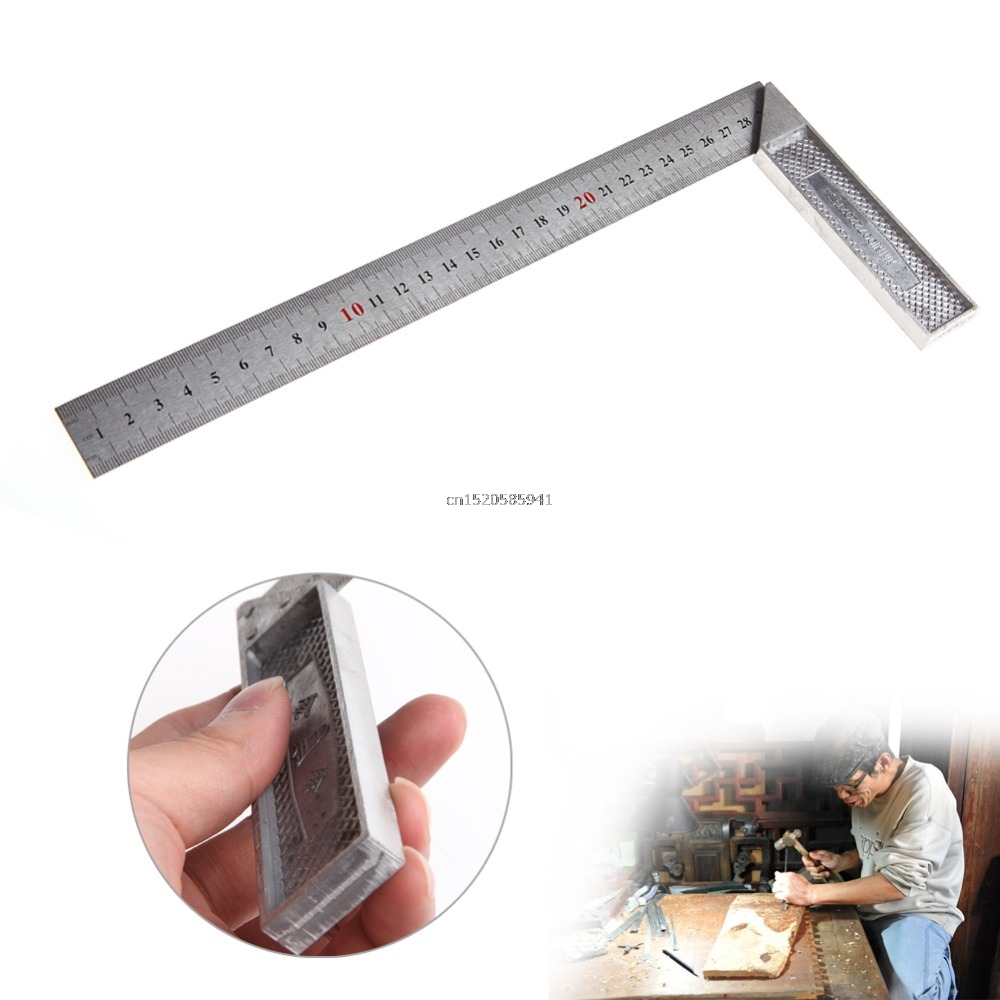 30cm Stainless Steel Right Measuring Rule Tool Angle Square Ruler 0-12 Inches