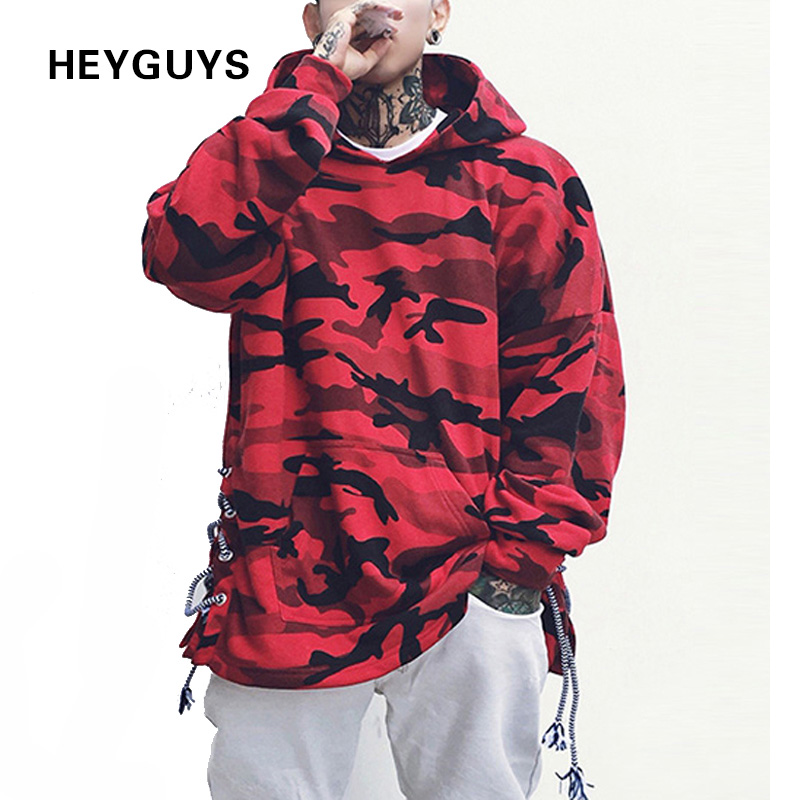 HEYGUYS HOT 2018 red camouflage hoodie men fashion sweatshirts brand orignal design casual pullover for me autumn