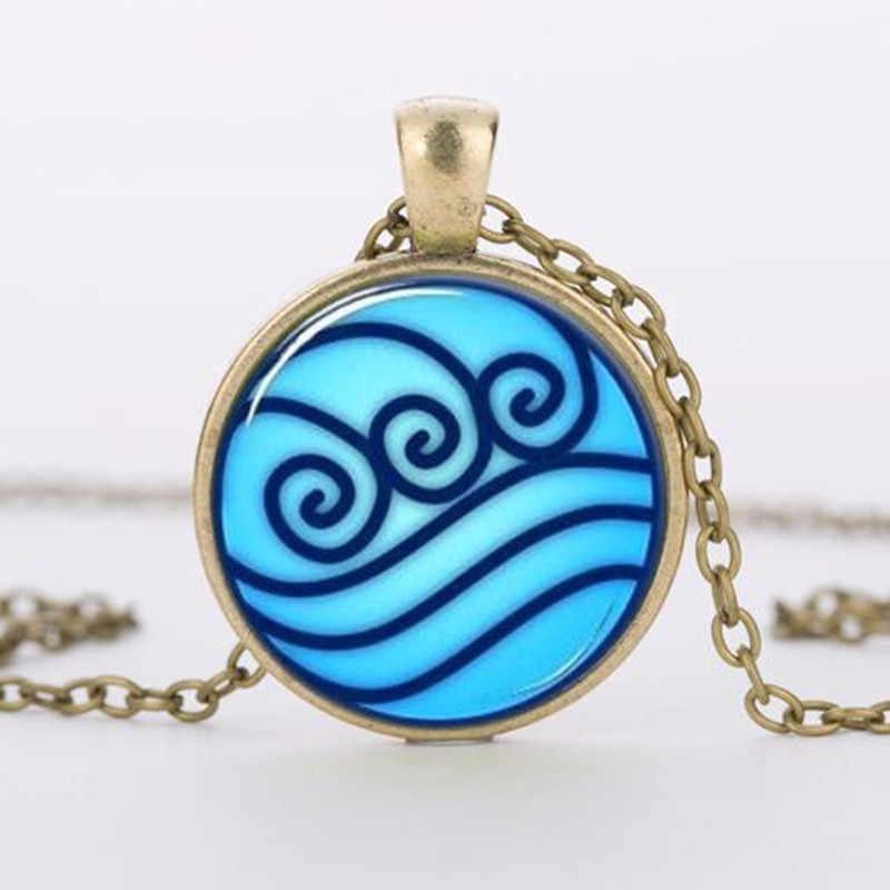 Marka Avatar ostatni naszyjnik Airbender, legenda Korra Water Tribe szklany wisiorek biżuteria srebrne wisiorki dla mężczyzn