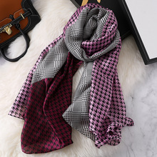 New Fashion Houndstooth Spring  Winter silk scarf for women female Luxury brand Korean version Ladies shawl femme Hijab Scaves