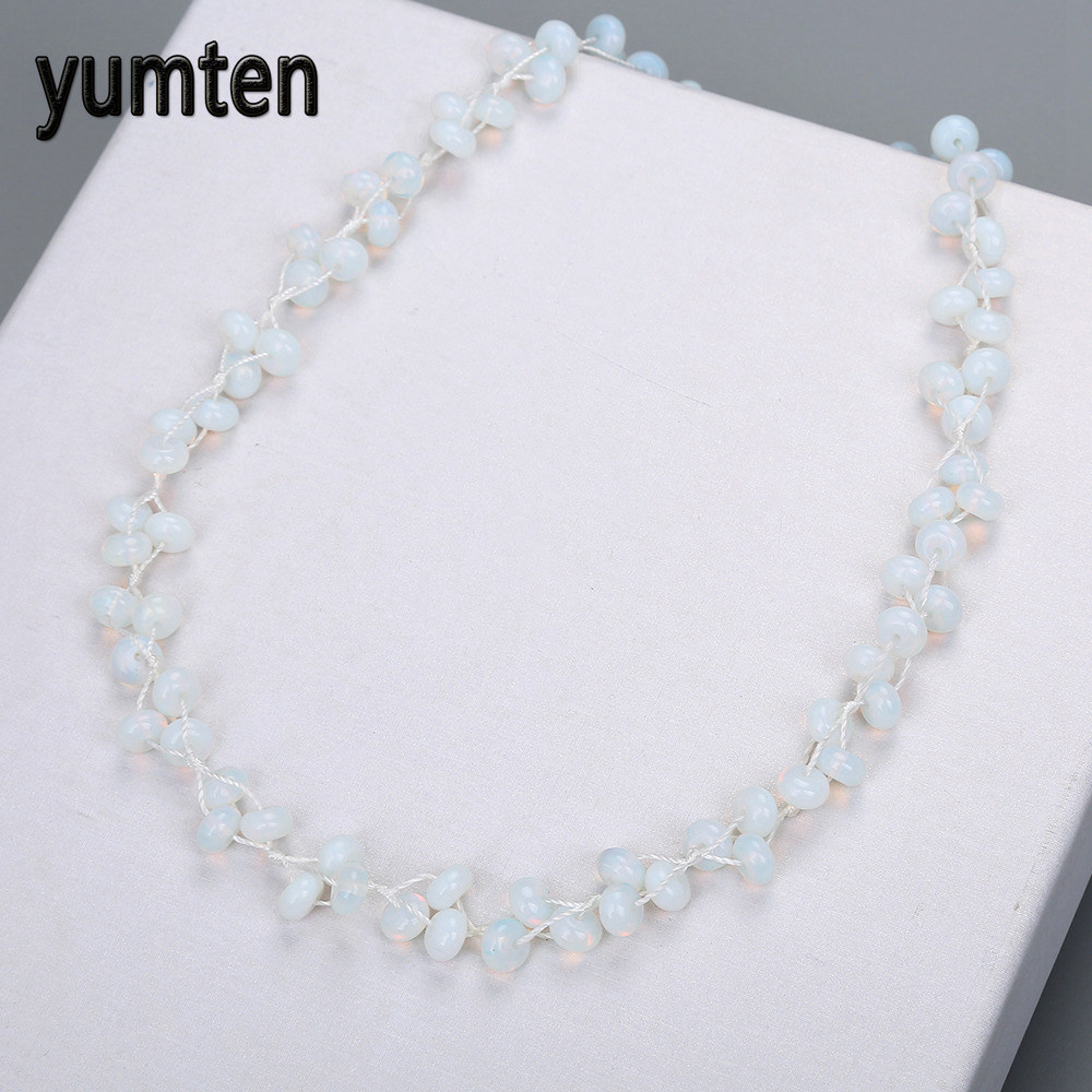 Nature Opal Beads Chain Women Statement Necklace Charms For Jewelry Making Exquisite Crystal Stones Collane Donna